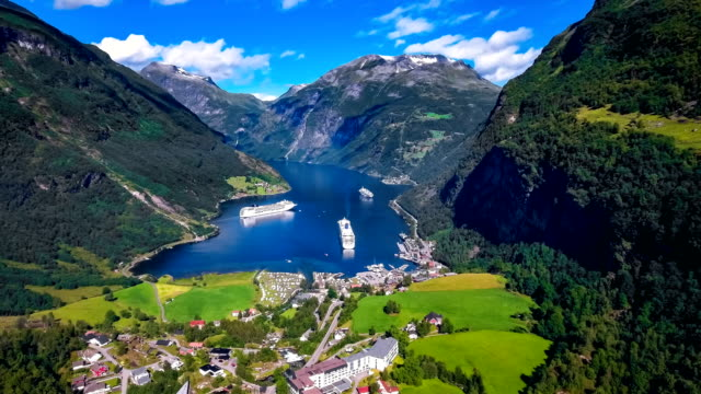 Geiranger fjord, Beautiful Nature Norway Aerial footage. video