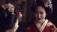 Geisha Maiko Together Indoor by Window Slow Motion 4K video