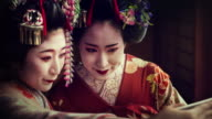 Geisha Maiko Using Mobile Parallax Animated Photo Slow Motion 4K video