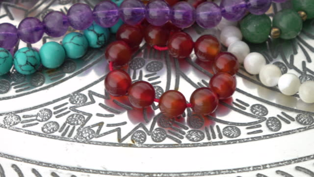 Gemstone Beads Jewelry turning on silver plate video