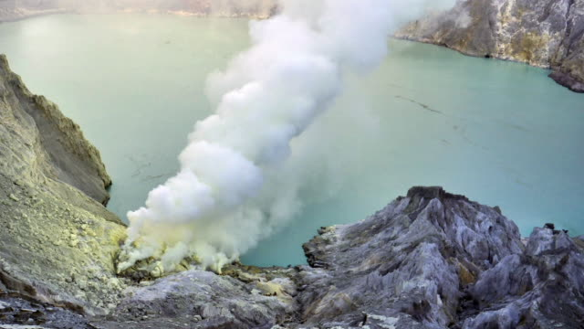 General view of sulfur mining operation and acid lake :timelapse video