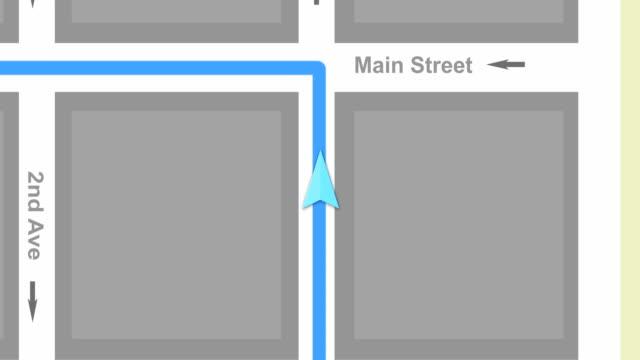 Generic modern GPS System guiding car through a metro area video