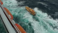 Generic pilot boat escorting a ship that leaves the harbor video