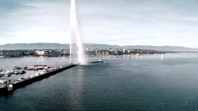 Geneva Jet D'eau fountain from Aerial view video