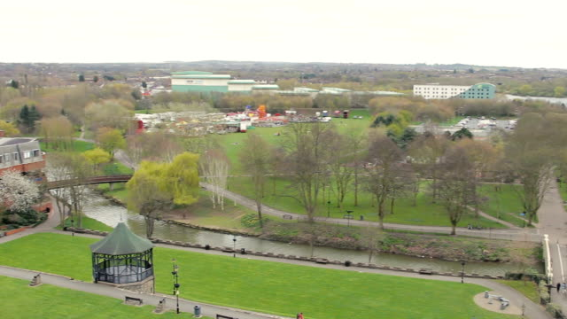 A Gentle Pan across the river running through Tamworth Park video