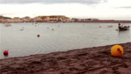 Gentle Sea Waves Lap Buoys and Sand of Shaldon Beach - view of Teignmouth Harbor video