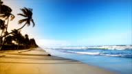HD Gentle waves on Caribbean island beach at sunset video