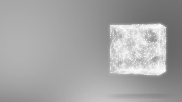 geometric composition from dots and lines in the cube casts a shadow 4K video