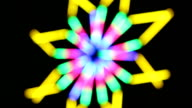 Geometric flower colorful lights art spinning video