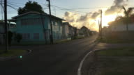 Georgetown, Guyana streets during sunset. Travel destination video