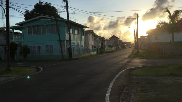 Georgetown, Guyana streets during sunset. Travel destination video