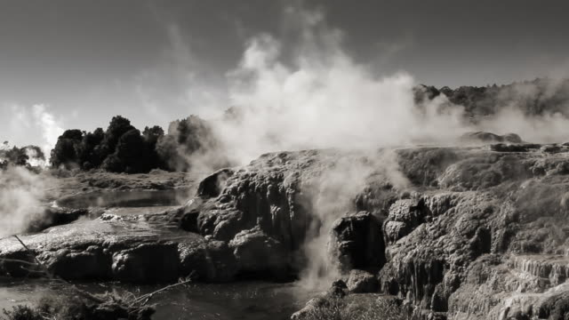 Geothermal area in monochrome. Rotorua, New Zealand video