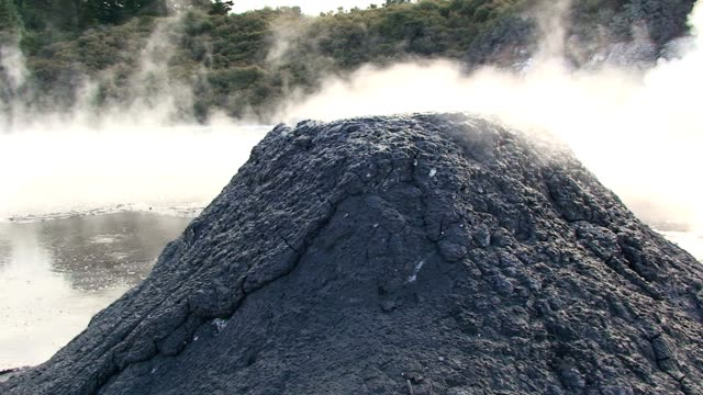 Geothermal Steam Rising from Volcano Type Mound video