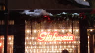 German Christmas market stand selling hot wine punch video