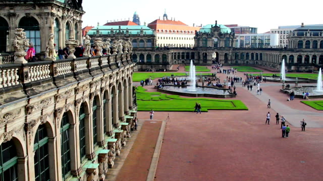 German Rococo architecture Royal Palace in Dresden, tourists day. Beautiful shot of Europe, culture and landscapes. Traveling sightseeing, tourist views landmarks of Germany. World travel, west European trip cityscape, outdoor shot video