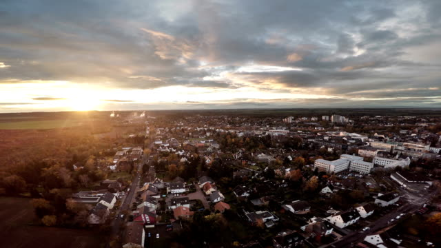 AERIAL : German town at Sunset video