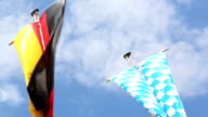 Germany and Bavaria flags in front of blue sky video