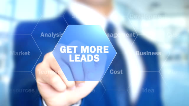 Get More Leads, Businessman working on holographic interface, Motion Graphics video