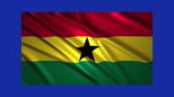 Ghana flag waving,loopable on blue screen video