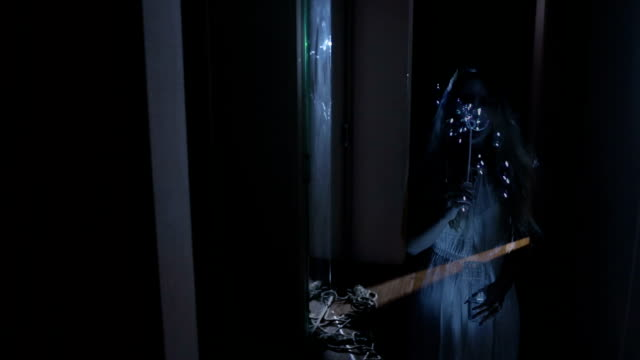 ghost girl in the house. the spirit of a woman. bubble blower video