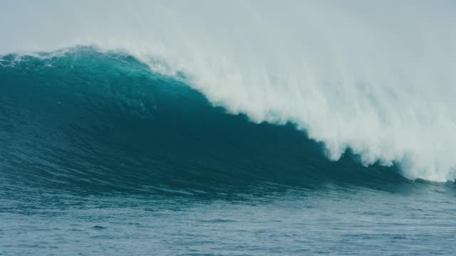 Giant Blue Ocean Wave Breaking in Slow Motion video