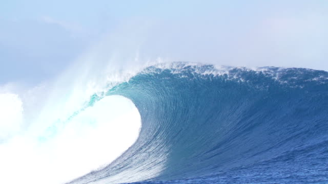 Giant Blue Ocean Wave Crashing In Slow Motion video