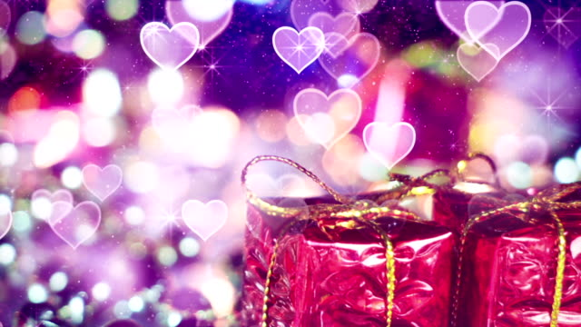 gift box and heart bokeh lights seamless loop video