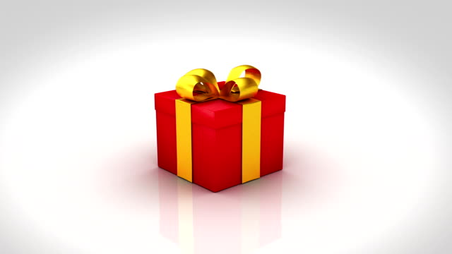 Gift box opening. 3 colors. Alpha matte and tracking points. video