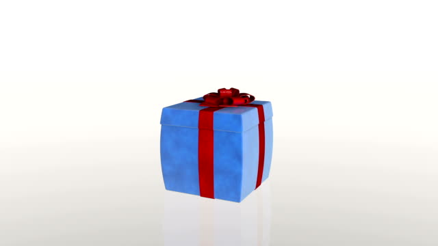 Gift box opening lid to present a laptop, against white video