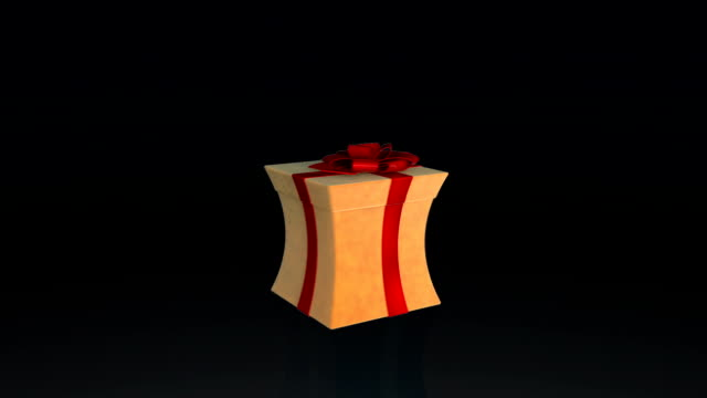 Gift box opening lid to present a virtual product, on black with Alpha Matte video