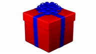 Gift box tied ribbon with a bow turn around. 3D rendering. video
