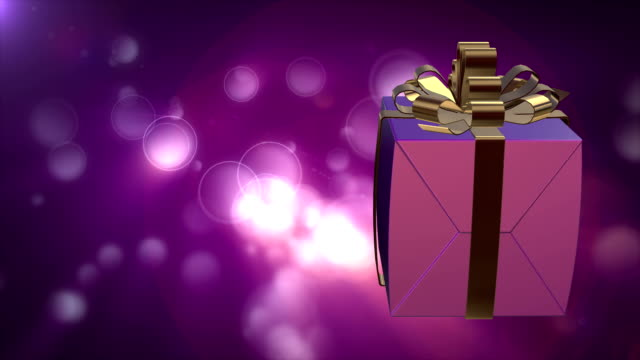 Gift Box with Defocused particles video