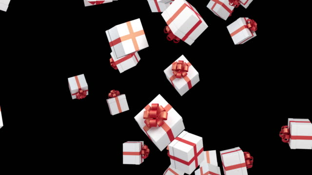 Gift Boxes Are Falling On Black Background video