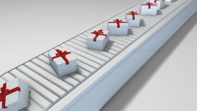 Gift boxes on conveyor belt - Loopable video