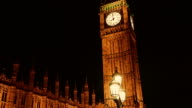 Gimbal shot of the Houses of Parliament and Big Ben at night video