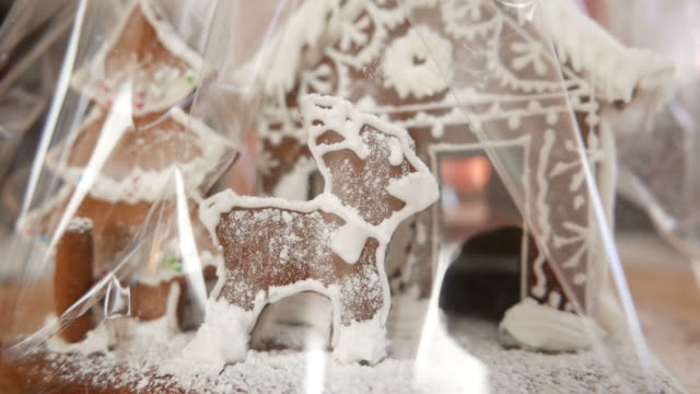 Gingerbread house. Looped movie. In cellophane. video