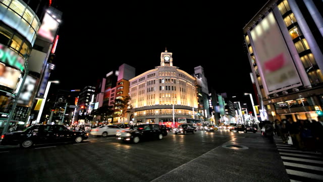 Ginza at dusk in Tokyo video