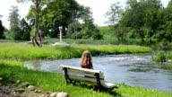 girl admire nature video