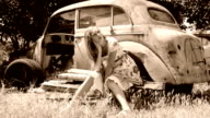 girl and an old car video