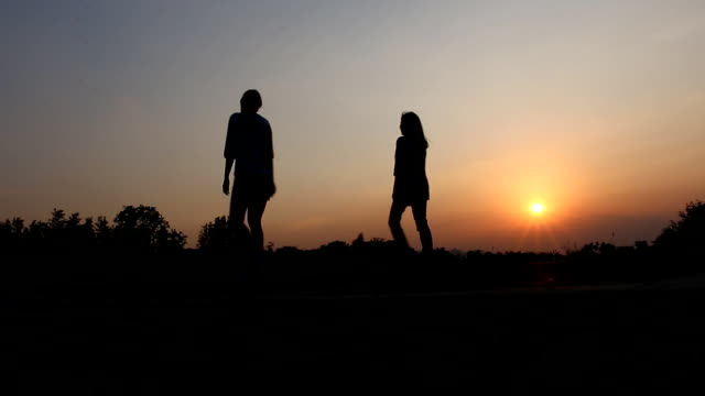 Girl and dog walking in park,Silhouette video