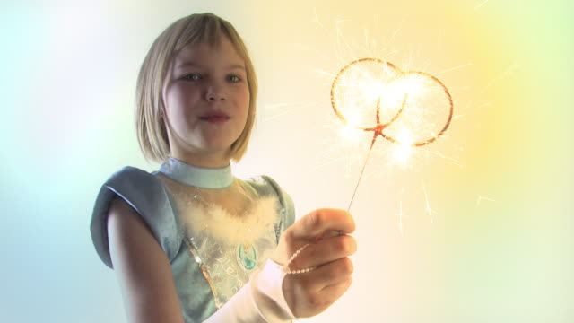 Girl and fireworks video