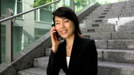 Girl Asian Businesswoman Elegant Woman Looking At Camera And Smiling video