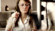 Girl Assistant in Genetic Laboratory video