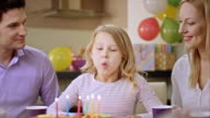 SLO MO girl blowing out the candles on birthday cake video