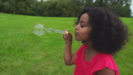Girl blows bubbles video