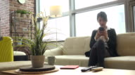 Girl Business Travel Asian Woman Businesswoman With Smartphone At Home video