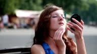 Girl Checking Makeup video