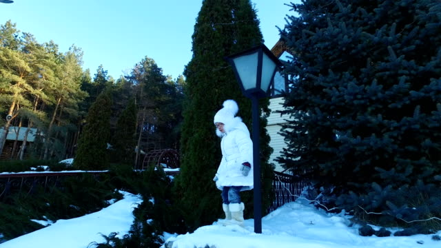 Girl child walks in the park. Child is like to walk. The girl's face red from the cold weather. Frosty winter day. video