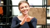 Girl Clapping , Applauding Portrait Indoor video