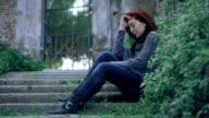 Girl crying in depression and frustration video